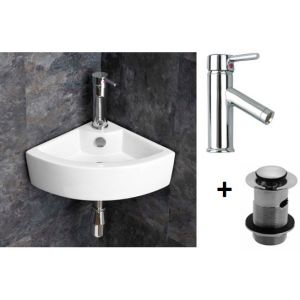 Wall Hung Corner Bathroom Basin Bundle Ceramc White with Chrome Tap and Waste Olbia