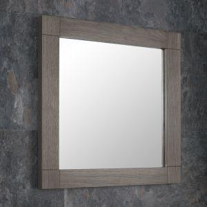 Grey Wash Solid Oak 600mm Square Wall Hung Bathroom Mirror