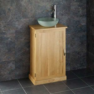 Shallow Solid Oak Bathroom Cabinet + Frosted Glass Basin Set CUBE50