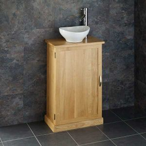 Slimline Narrow Solid Oak Bathroom Vanity Cabinet + Oval Sink Set CUBE50