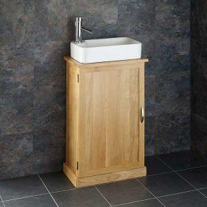 Shallow Cloakroom Oak Vanity Cabinet + Rectangular Torre Basin Set CUBE50