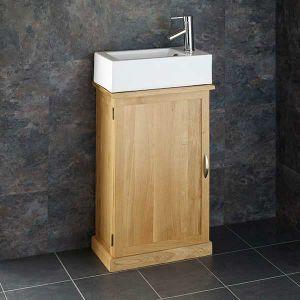 Clickbasin's Narrowest Oak Bathroom Vanity Cabinet with Lucca Rectangular Basin Set CUBE50