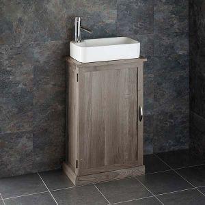Narrow Cloakroom GREY WASH Oak Vanity Unit + Rectangle Torre Basin Set CUBE50G