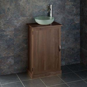Narrow Dark Oak Bathroom Vanity Unit with Round Basin Bundle Wenge Oak Cabinet and Frosted Glass Sink 310mm Diameter