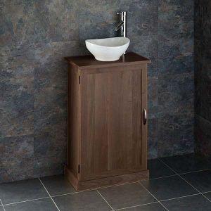 Narrow Dark Oak Bathroom Vanity Unit with Oval Basin Bundle Wenge Oak Cabinet and Ceramic 300mm x 280mm Sink