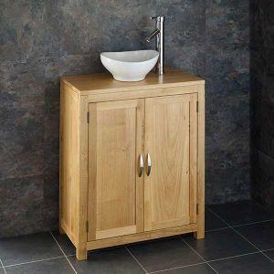 Oak Cloakroom Narrow 650mm Vanity Unit + Small Oval Basin Set ALTA65