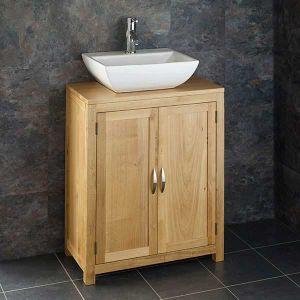 650mm Wide 340mm Deep Alta Solid Oak Two Door Narrow Cabinet With Massa Basin