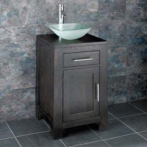 Dark Wenge Oak Square Bathroom Cabinet + Frosted Glass Basin Set ALTA45W