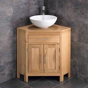 Corner Bathroom Oak Vanity Storage Cabinet with Round 400mm Sink Set ALTAL