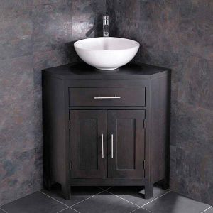 Round Bathroom Bowl Wash Basin with Alta Wenge Dark Wood Double Door Corner Cabinet