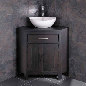 Solid Dark Oak Wenge Corner Unit with 400mm Oval Basin Set ALTALW