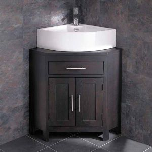 Alta Solid WENGE Oak Double Door Corner Freestanding Storage Unit and Prato 660mm Basin