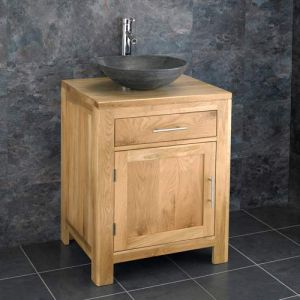 Solid Oak Bathroom Vanity Unit 600mm + Black Natural Stone Bowl Set ALTA60