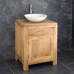 Freestanding Bathroom Vanity Unit 600mm + Natural Stone Bowl Set ALTA60
