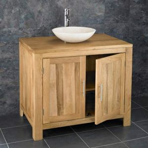 Large Oak Bathroom Storage Vanity Unit 900mm plus Natural Stone Sink Set
