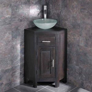 Small Corner Dark Oak Vanity Unit + Round Frosted Glass Bowl Set ALTASW