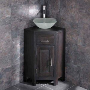 Corner Dark Oak Bathroom Unit + Square Frosted Glass Basin Set ALTASW