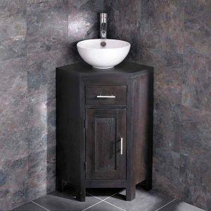 Dark Wenge Oak Corner Vanity Bathroom Cabinet + Round Bowl Set ALTASW