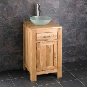 Small Square Bathroom Oak Vanity Unit + Frosted Round Basin Set ALTA45