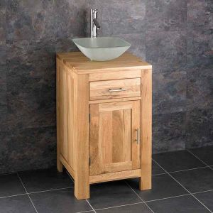 Square Oak Bathroom Small Vanity Unit + Frosted Square Basin Set ALTA45