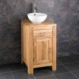 Cloakroom Square Oak Storage Cabinet 450mm + Round Basin Set ALTA45