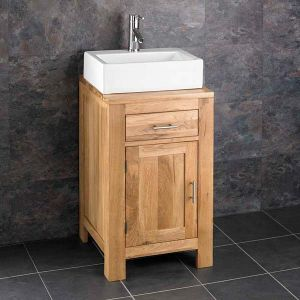 Oak Square Cloakroom Storage Unit 450mm + Rectangle Basin Set ALTA45