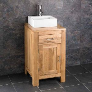 Oak Square Cloakroom Vanity Cabinet + Small Rectangle Basin Set ALTA45