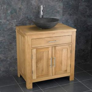 Natural Oak Bathroom Vanity Cabinet + Black Stone Bowl Set ALTA75