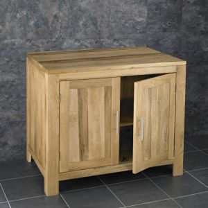 Large Solid Oak Natural Vanity Storage Unit with Internal Shelf 900mm x 600mm Alta