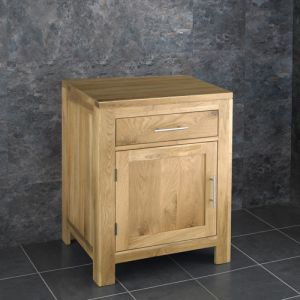 Natural Solid Oak Bathroom Storage Cabinet 600mm wide Fully Assembled
