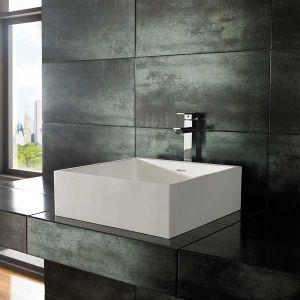 Large Countertop Bathroom Basin in White Stone Resin 465mm Square Freestanding Sink Alto