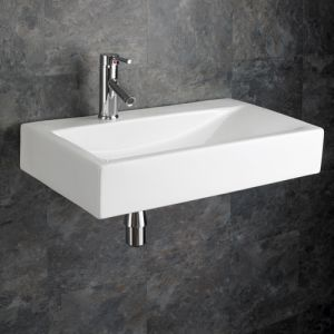White Rectangle Wall Mount Sloping Bathroom Sink 670mm x 380mm ALTOMURA