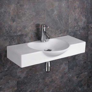 Wall Hung Rectangle Large White Bathroom Sink 700mm x 340mm APRILIA