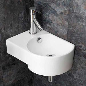 Wall Hung Cloakroom White Sink Overflow 400mm x 270mm Left AVERSA