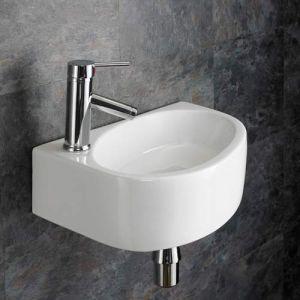 Rectangle Wall Hung Cloakroom Washbasin Sink Left Hand 420mm x 290mm BALSAMO