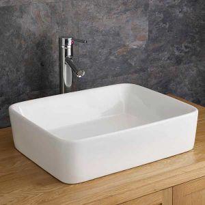 White Large Rectangle Above Counter Bathroom Sink 480mm x 380mm BALZANO