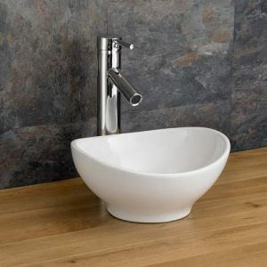 Small Narrow Freestanding Cloakroom Oval White Sink 300 x 280mm BOLOGNA