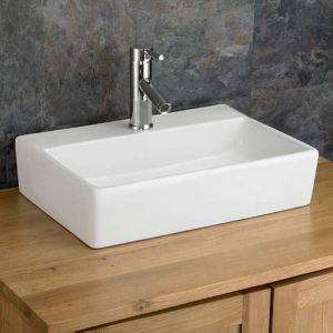 Rectangle Above Counter White Bathroom Basin 510mm x 360mm CALABRIA