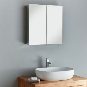 Large Double Door Bathroom Mirror Cabinet 610mm x 600mm Madrid