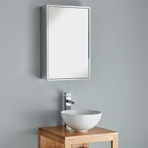 Single Door Tall Mirror Bathroom Wall Cabinet 400mm x 600mm ALMERIA