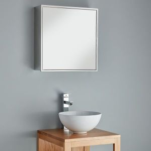 Large square family bathroom mirror cabinet Seville