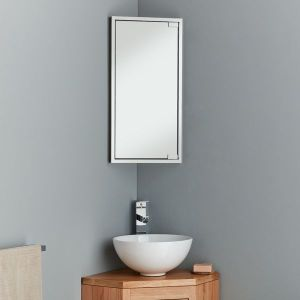 space-saving corner mirror cabinet