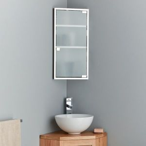 tall corner bathroom cabinet with frosted glass