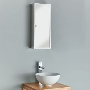 Narrow bathroom mirror cabinet