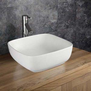 Counter Top Square Curved Corners Freestanding Ceramic Bathroom Basin 400mm CORTA