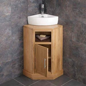Cube solid oak Corner Bathroom Cabinet With Basin