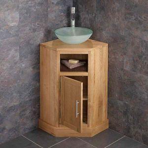 Cube Corner Oak Bathroom Cabinet With Round Basin