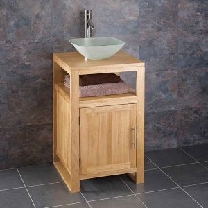 Cube Narrow Solid Oak Cabinet with square sink