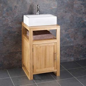Cube Solid Oak Narrow Cabinet With Basin