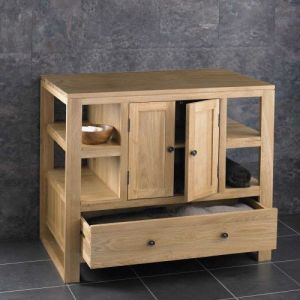900mm Cube Natural Oak Storage Unit with Drawer and Cupboard